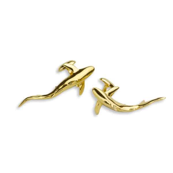 AK Blue Shark cufflinks gold II
