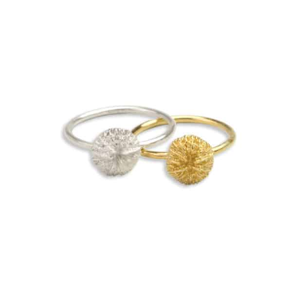 AK mushroom coral stacker rings silver gold