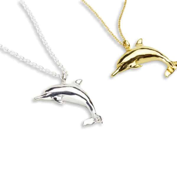 AK Gold and Silver naia dolphin necklaces