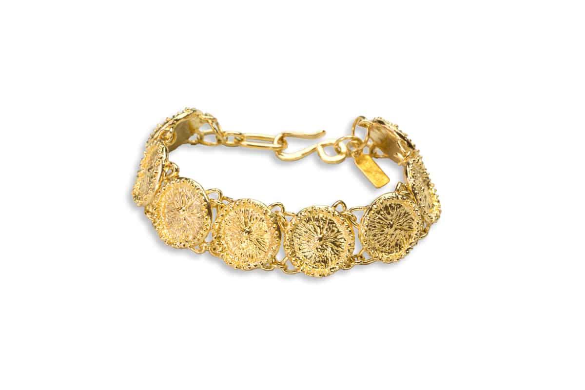 zoanthid anemone link bracelet in gold