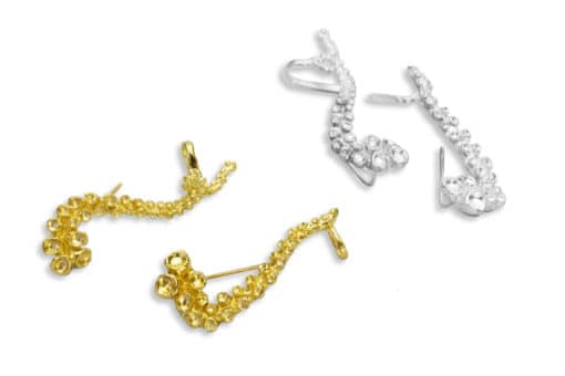 AK octopus climber earrings silver gold I