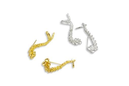 AK octopus climber earrings silver gold II