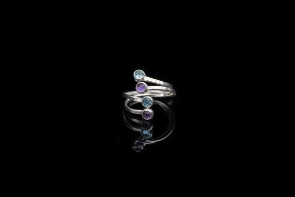 Alohi Kai Eddies Adjustable Rose Cut Gems Nesting Ring