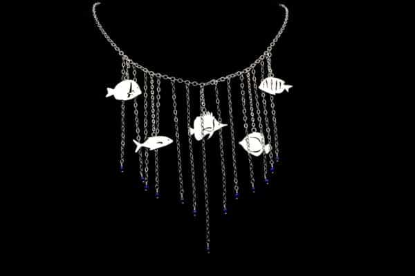 Alohi Kai Sterling Silver Swimming Seas Statement Necklace