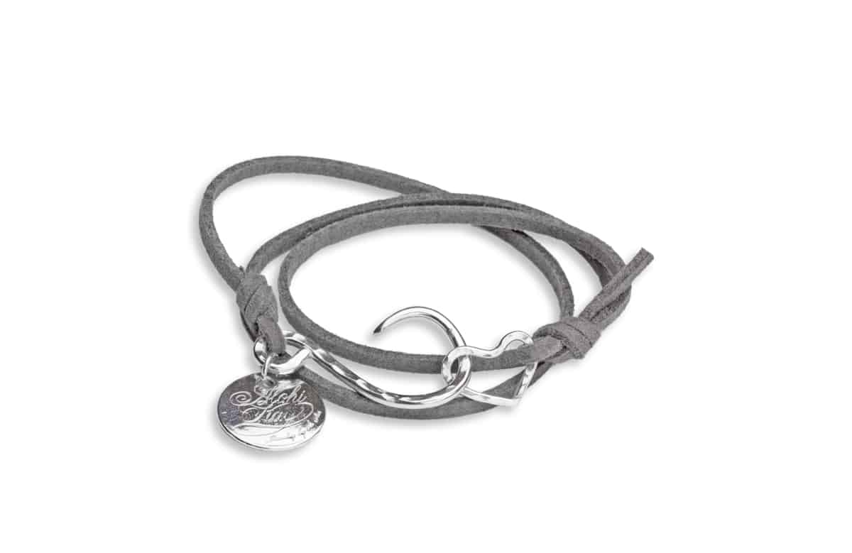 Grey Microfiber BCH Wrap Bracelet with heart clasp