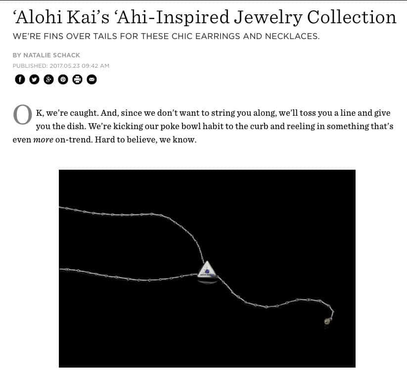 'Alohi Kai 'Ahi Collection Article in Lei Chic, Honolulu Magazine