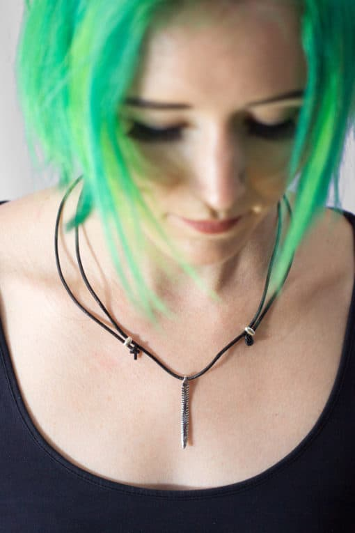 AJ barb leather necklace