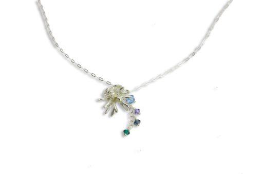 Hohonu Silver Cup Coral Pendant + crystal hang