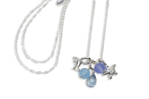 Hohonu Dolphin Starfish glass necklace