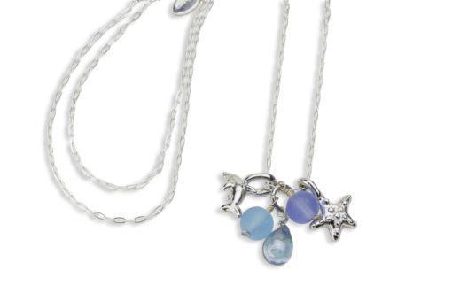 Hohonu Dolphin Starfish glass necklace