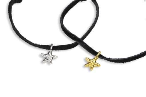 H oceanid adj bracelet suede sea stars close BLACK
