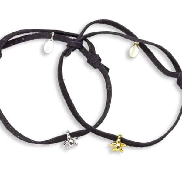 Hohonu adj tiny honu turtle charm bracelet suede