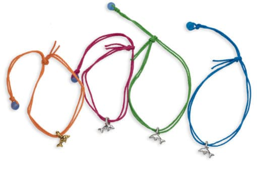4 dolphin bamboo cord pull bracelets
