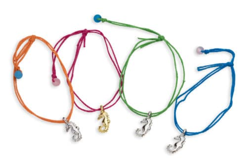 4 seahorse bamboo cord pull bracelets
