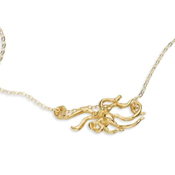 Night octopus necklace GOLD close 2