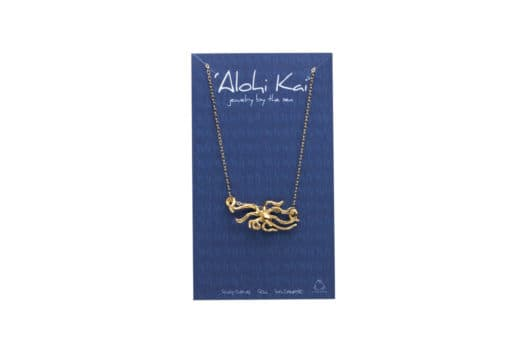 night octopus necklace, carded in gold