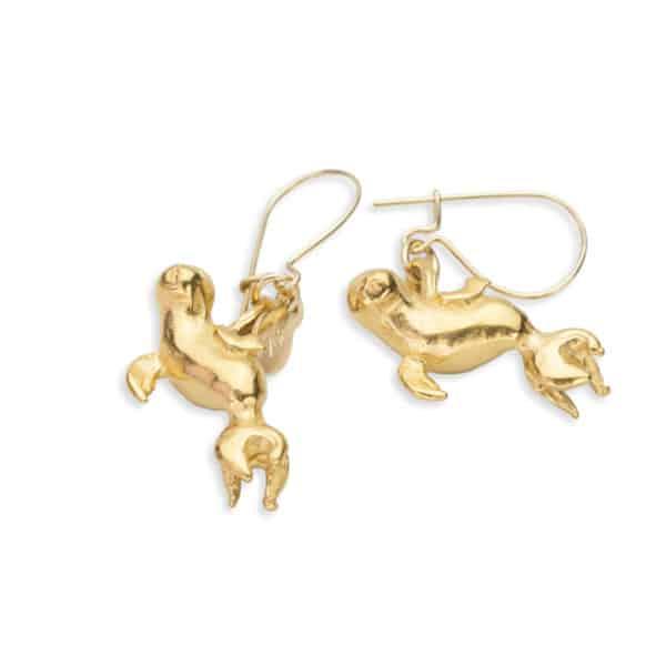 Monk seal drop earrings gold 2