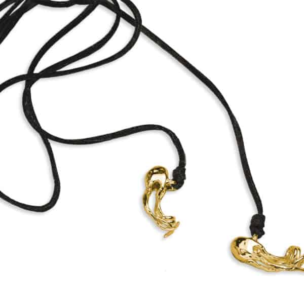 AK box jelly lariat necklace black & gold
